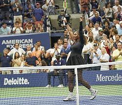 September 4, 2018 - New York, New York, United States - Serena Williams celebrates victory in US Open 2018 quarterfinal match against Karolina Pliskova of Czech Republic at USTA Billie Jean King National Tennis Center (Credit Image: © Lev Radin/Pacific Press via ZUMA Wire)