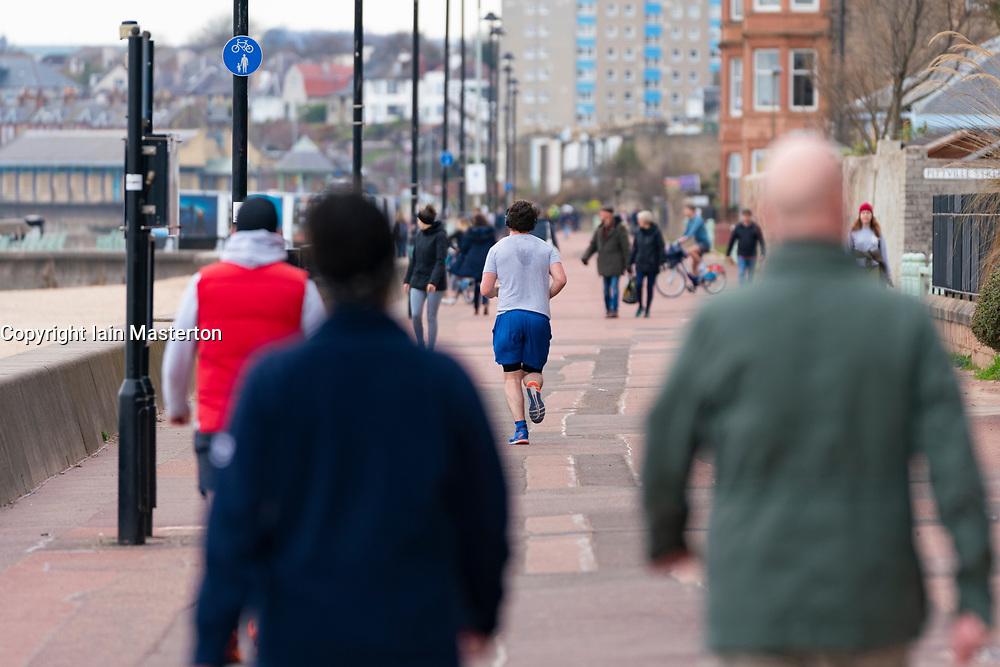 Portobello, Edinburgh, Scotland, UK. 5 April, 2020.  Images of Portobello promenade on the second Sunday of the coronavirus lockdown in the UK.