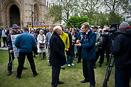 UK. London. The Village Green: From Blair to Brexit.<br /> A story on the relationship between the Media, Politicians and the public as they come together on College Green, a small patch of land next to The Houses of Parliament in Westminster. <br /> Photo shows Lord Kinnock, a former leader of the Labour Party being interviewed five days after the General Election that returned a new Government formed of the Conservative and Liberal Democratic Parties. <br /> Photo©Steve Forrest/Workers' Photos