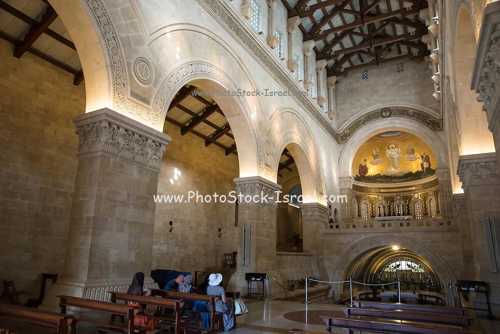 Interior of the Franciscan church of the Transfiguration, mount Tabor, Jezreel Valley, Galilee, Israel (architect Antonio Barluzzi 1924)