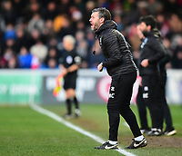 Lincoln City's assistant manager Nicky Cowley shouts instructions to his team from the technical area<br /> <br /> Photographer Andrew Vaughan/CameraSport<br /> <br /> The EFL Sky Bet League Two - Lincoln City v Northampton Town - Saturday 9th February 2019 - Sincil Bank - Lincoln<br /> <br /> World Copyright © 2019 CameraSport. All rights reserved. 43 Linden Ave. Countesthorpe. Leicester. England. LE8 5PG - Tel: +44 (0) 116 277 4147 - admin@camerasport.com - www.camerasport.com