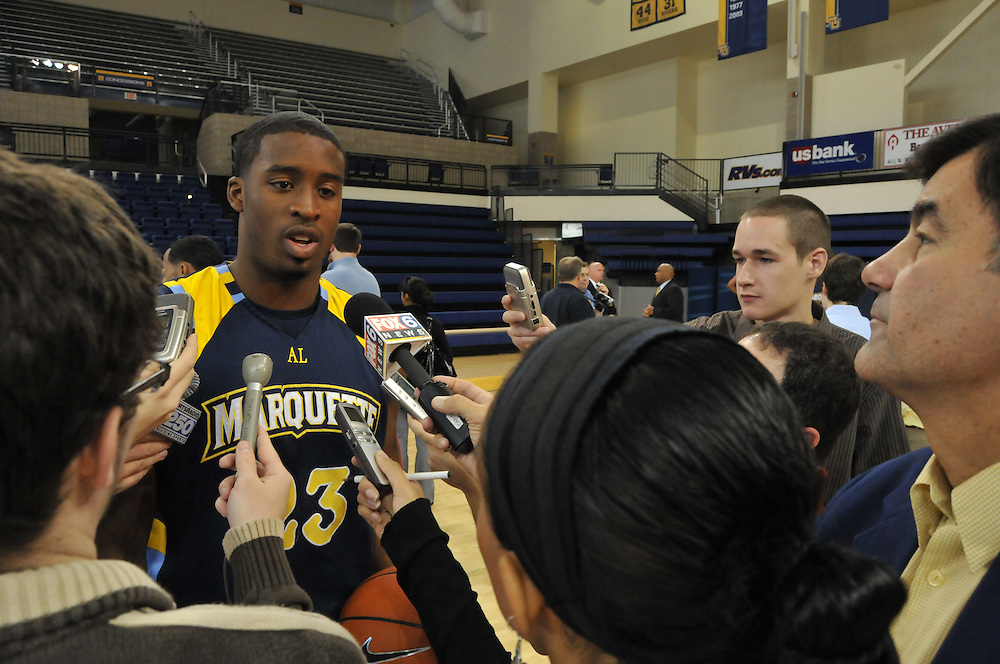 Senior Wesley Matthews (23)talks with reporters at Media Day, Thursday Oct. 16 2008.