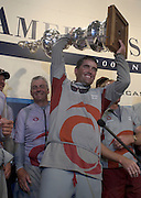 Alinghi skipper Russell Coutts with the America's Cup at the final press conference. 2/3/2003 (© Chris Cameron 2003)