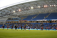 Football - 2016 / 2017 FA Cup - Third Round: Brighton and Hove Albion vs. MK Dons<br /> <br /> The MK Dons squad warm up in a very empty Amex Stadium Brighton<br /> <br /> Colorsport/Shaun Boggust