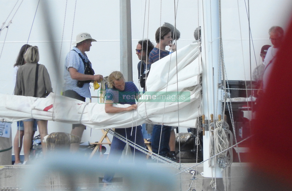 Pierce Brosnan and Lily James are seen on the set of Mamma Mia 2 which is currently filming in Croatia.<br /><br />3 October 2017.<br /><br />Please byline: Vantagenews.com