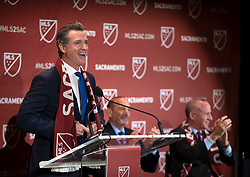 Oct 21, 2019; Sacramento, CA, USA; Calif. Gov. Gavin Newsom addresses the crowd during the announcement that Major League Soccer has award an expansion team to Sacramento, at The Bank. Mandatory Credit: D. Ross Cameron-USA TODAY Sports