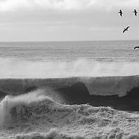 Pacific Ocean waves roll ashore at Montara State Beach, California.