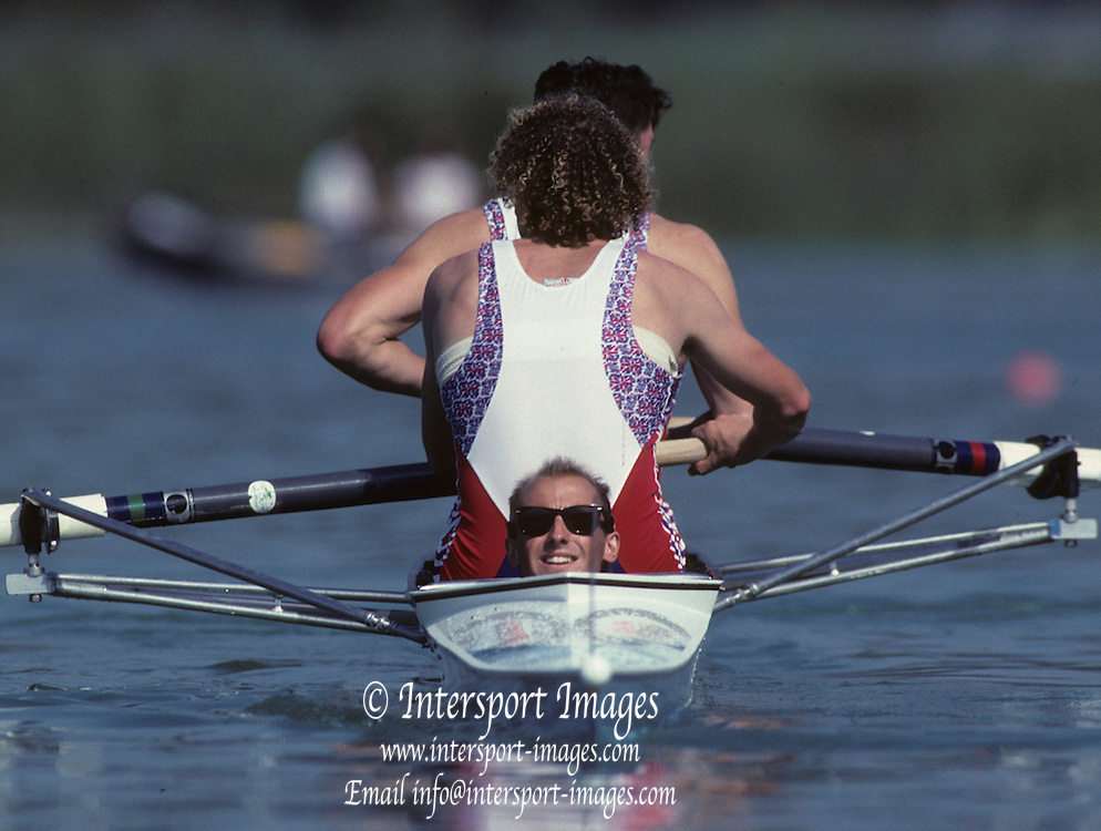 Barcelona, SPAIN. Gold medalist, GBR M2+, Bow Jonny SEARLE and Greg SEARLE with cox, Gary HERBERT. 1992 Olympic Rowing Regatta Lake Banyoles, Catalonia [Mandatory Credit Peter Spurrier/ Intersport Images] Last time Men's coxed pair raced at the Olympics
