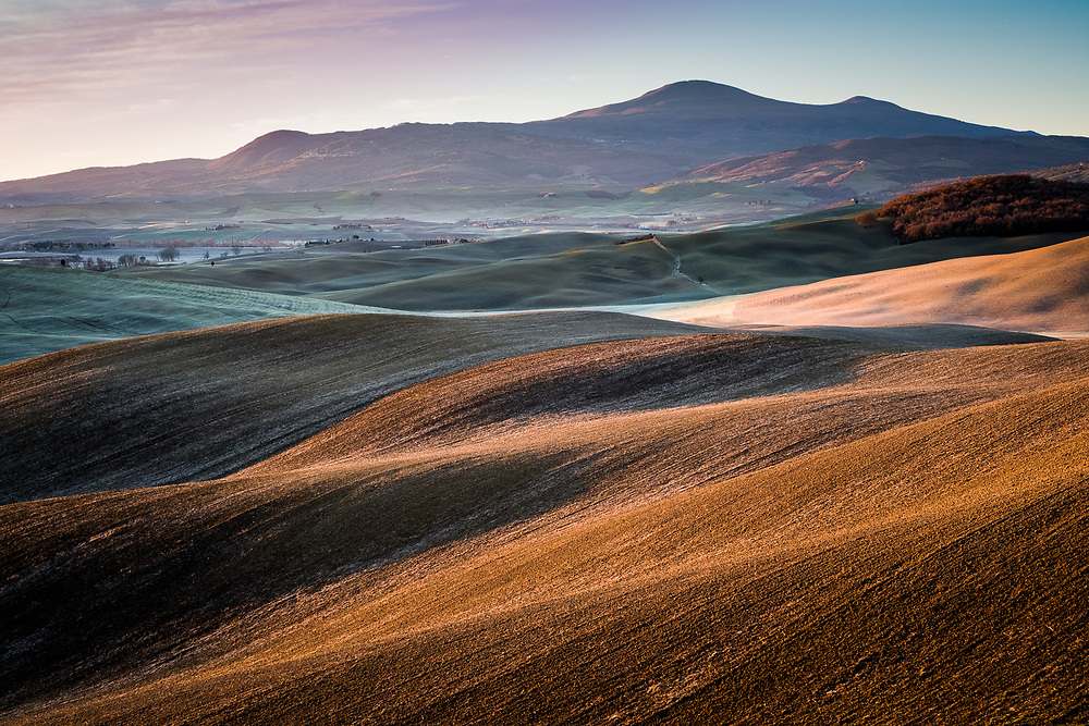 The gentle hilly landscape of the province of Siena in Tuscany, Italy