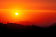 Sunset over the Sierra Nevada foothills from Moro Rock, Giant Forest, Sequoia National Park, California USA