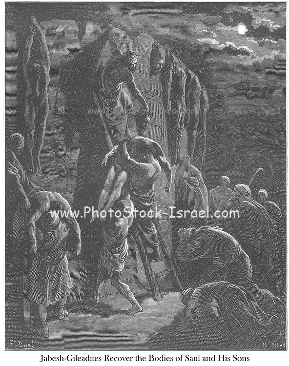 Inhabitants of Jabesh-Gilead Recovering the Bodies of Saul and His Sons 1 Chronicles 10:12 From the book 'Bible Gallery' Illustrated by Gustave Dore with Memoir of Dore and Descriptive Letter-press by Talbot W. Chambers D.D. Published by Cassell & Company Limited in London and simultaneously by Mame in Tours, France in 1866