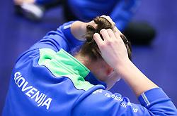 HERNING, DENMARK - DECEMBER 6: Slovenian player adjusting her hairband during the EHF Euro 2020 Group A match between Slovenia and France in Jyske Bank Boxen, Herning, Denmark on December 6, 2020. Photo Credit: Allan Jensen/EVENTMEDIA.