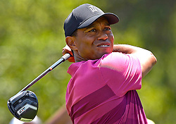 May 3, 2018 - Charlotte, North Carolina, U.S. - TIGER WOODS watches his drive from the 3rd tee during he first round of the Wells Fargo Championship at Quail Hollow Club. (Credit Image: © Jeff Siner/TNS via ZUMA Wire)