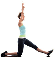 stretching workout posture by a woman on studio white background