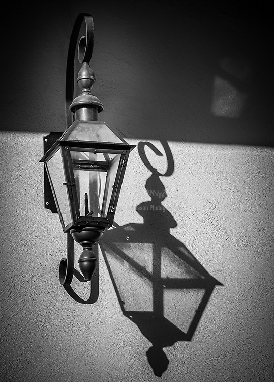 Lantern on building in New Orleans' French Quarter (Vieux Carre)