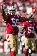 San Francisco 49ers outside linebacker Ahmad Brooks (55) celebrates against the Houston Texans at Levi's Stadium in Santa Clara, Calif., on August 14, 2016. (Stan Olszewski/Special to S.F. Examiner)