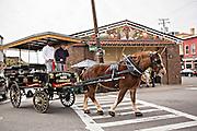 Horse drawn carriage at the Historic Charleston City Market on Market Street in Charleston, SC.