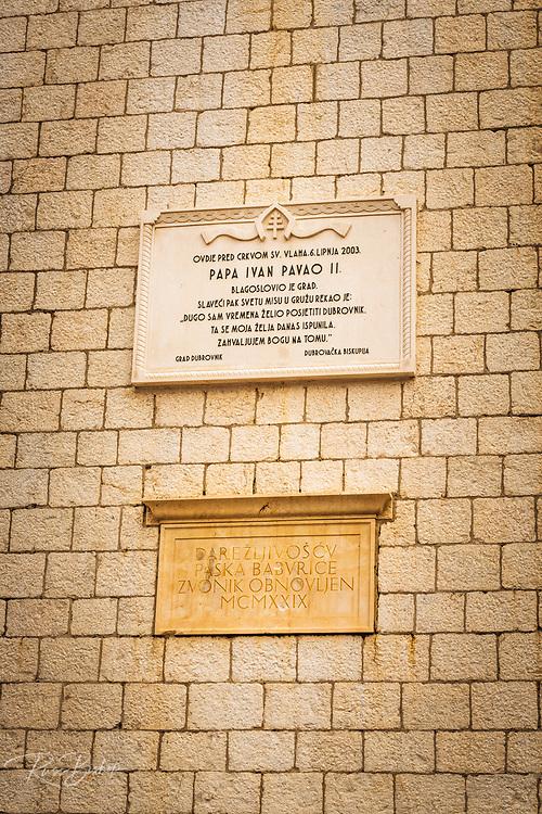 Plaque at Sponza Palace in old town Dubrovnik, Dalmatian Coast, Croatia