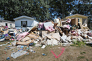 Contents in front of a trailer park in Denham Springs that was flooded in August during a 1000 year flood.