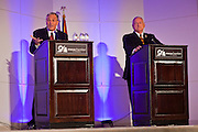 06 OCTOBER 2011 - MESA, AZ: Jerry Lewis (CQ LEFT) and State Sen Russell Pearce at the debate between Lewis and Pearce in Mesa Thursday. Lewis is challenging Pearce in Pearce's recall election after residents of Pearce's district signed petitions calling for the recall the President of the Arizona State Senate.   PHOTO BY JACK KURTZ