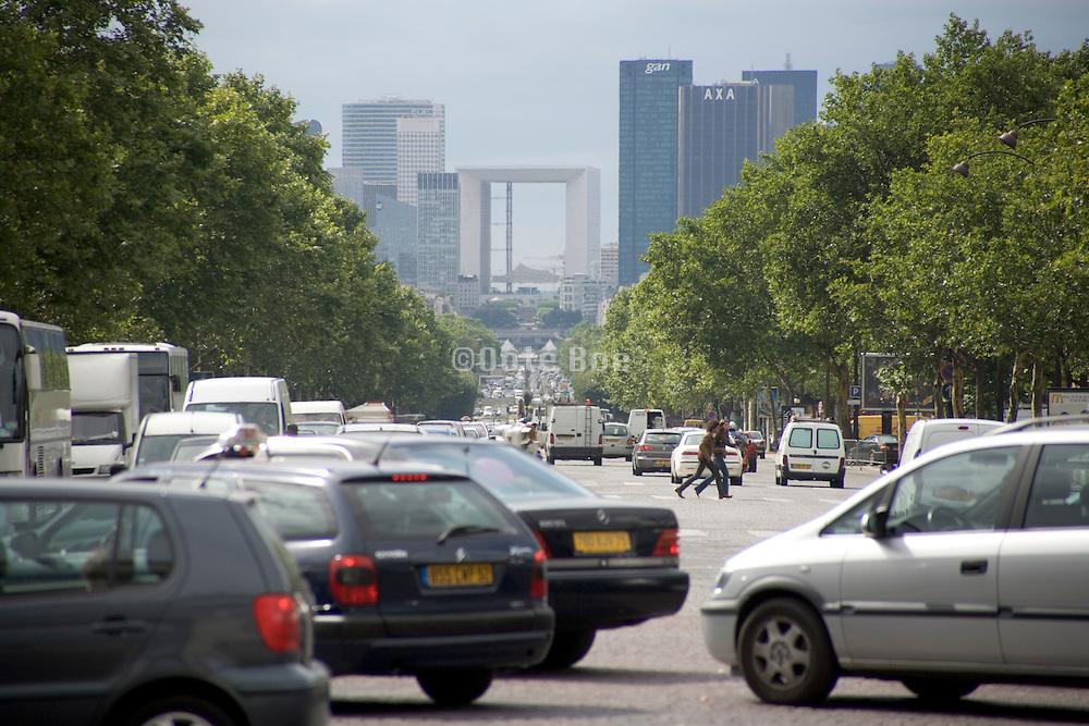 Paris avenue de la Grande Armee looking towards La Defense