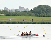 Eton. Great Britain. USA JM4-  moving down the course passing under the view of the Windsor Castle, competing at the Eton Rowing Centre 2011 FISA Junior  World Rowing Championships. Dorney Lake, Nr Windsor. Friday, 05/08/2011  [Mandatory credit: Peter Spurrier Intersport Images]