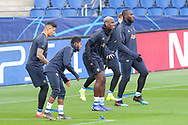 Manchester United Defender Marcus Rojo  Manchester United Midfielder Fred Manchester United Midfielder Paul Pogba and Manchester United Forward Romelu Lukaku warm up during the Manchester United Training session ahead of the Paris Saint-Germain vs Manchester United Champions League match at Parc des Princes, Paris, France on 5 March 2019.