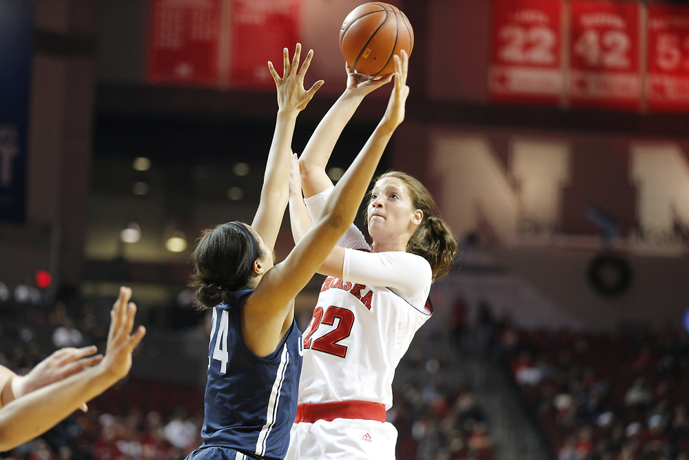 Nebraska Cornhuskers center Allie Havers #22 shoots during Nebraska's 84-41 loss to No. 1-ranked UConn at Pinnacle Bank Arena in Lincoln, Neb. on Dec. 21, 2016. Photo by Aaron Babcock, Hail Varsity