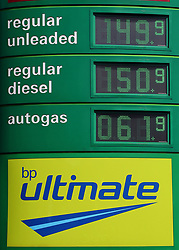 EMBARGOED TO 0001 FRIDAY MAY 03 File photo dated 21/08/18 of petrol and diesel prices at a BP fuel station in Kent. April saw the second highest monthly petrol price rise since 2000, new figures show.