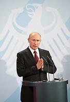 DEU, Deutschland, Germany, Berlin, 01.06.2012:<br />Der russische Präsident Wladimir Putin während einer Pressekonferenz im Bundeskanzleramt.