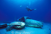 diver and sunken airplane used in <br /> the filming of Jaws IV off Nassau,<br /> Bahamas, ( Western Atlantic Ocean )  MR 180