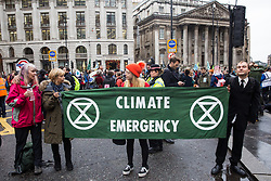 London, UK. 14 October, 2019. Climate activists from Extinction Rebellion blocks roads around the Bank of England on the eighth day of International Rebellion protests across London.