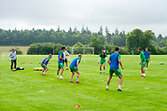 General view of the Hibs team training at the Hibernian Training Centre, Ormiston, Scotland on 19 August 2020.