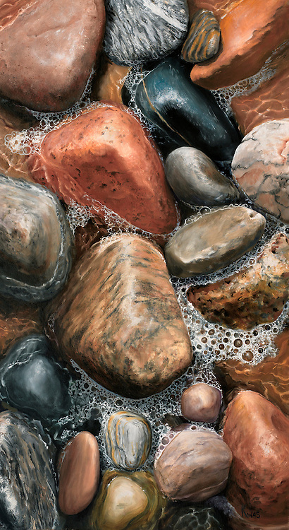 Tumbled boulders in rich earth tones have sparkling rivulets of a receding ocean wave winding between them. <br /> SOLD.  Prints available upon request.