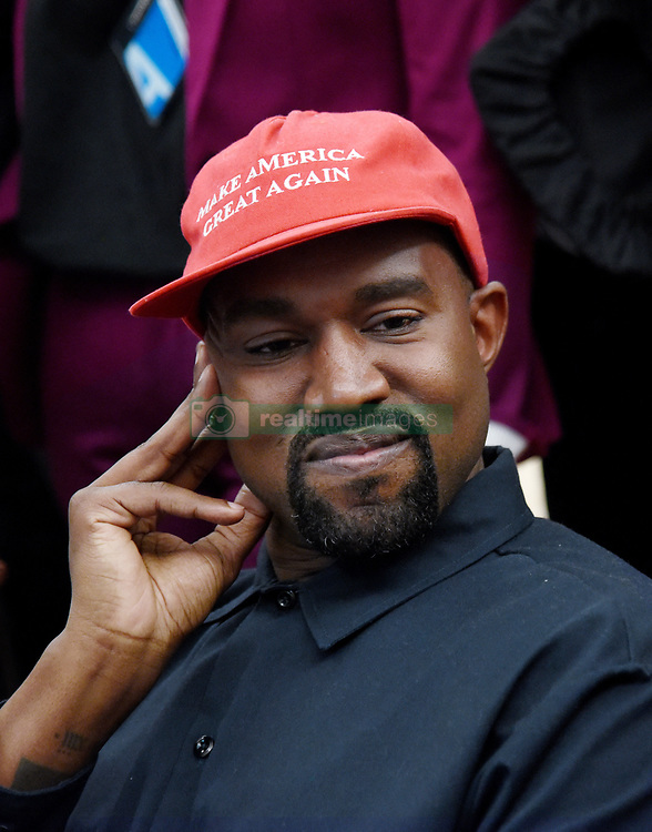File photo dated October 11, 2018 Artist Kanye West looks on in the Oval Office of the White House during a meeting with President Trump to discuss criminal justice system and prison reform in Washington, DC. US rapper Kanye West took to Twitter over the weekend to announce he was running for president, with his declaration quickly going viral and prompting a flurry of speculation. His wife Kim Kardashian West and entrepreneur Elon Musk endorsed him. Photo by Olivier Douliery/ Abaca Press