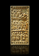 Medieval ivory relief panel depicting the arrest of Christ.  From the workshop of Charles-le-Chauve circa 870 AD.. Inv. OA 9526, The Louvre Museum, Paris. .<br /> <br /> If you prefer you can also buy from our ALAMY PHOTO LIBRARY  Collection visit : https://www.alamy.com/portfolio/paul-williams-funkystock/romanesque-art-antiquities.html . Type-         Ivory      - into the LOWER SEARCH WITHIN GALLERY box. Refine search by adding background colour, place, museum etc<br /> <br />  Visit our MEDIEVAL PHOTO COLLECTIONS for more   photos  to download or buy as prints https://funkystock.photoshelter.com/gallery-collection/Medieval-Romanesque-Art-Antiquities-Historic-Sites-Pictures-Images-of/C0000uYGQT94tY_Y