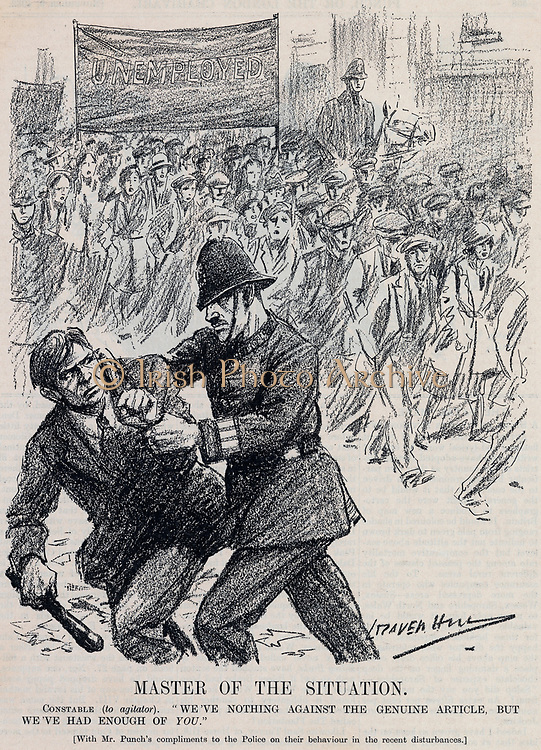National Hunger March from Glasgow to Hyde Park, London. Policeman dealing with a troublemaker. Cartoon from 'Punch', London, 1832