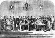 Second Opium War. Lord Elgin (1811-1863), left, signing the Treaty of Tainjin which brought to a formal end the Second Opium War between Britain and China, 16 June 1858.  Tainjin: modern Tientsin. Contemporary woodcut.