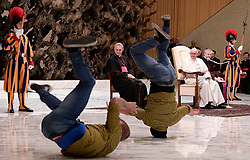 Pope Francis attends the weekly general audience with performers of the Golden Circus in Paul VI Hall at the Vatican on December 28, 2016. Photo by ABACAPRESS.COM  | 576534_002 Vatican City Vatican Vatican (or Holy See)