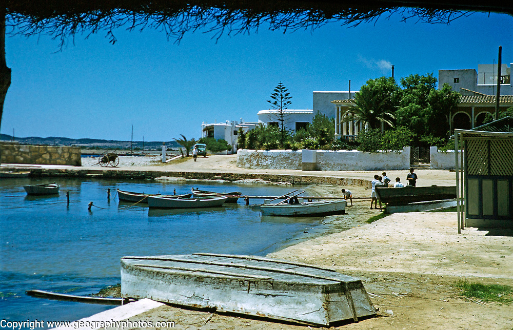 Small boats in harbour,  island of Ibiza, Balearic Islands, Spain, 1950s