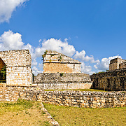 Panoramic shot of the Entrance Arch (left) and Oval Palace (right) at the ancient Mayan ruins site of Ek Balam in Yucatan, Mexico.