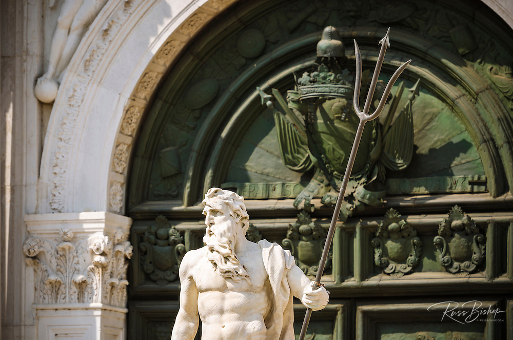 Neptune statue at the entrance to the Arsenal, Venice, Veneto, Italy