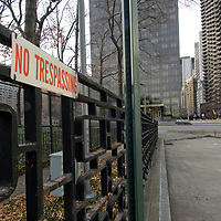 A sign warns against illegally entering a park surrounding the United Nations Building in New York City.