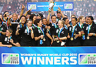 Twickenham Stoop, London, England - Sunday 9th September 2010: The New Zealand Black Ferns celebrate winning the IRB Womens Rugby World Cup Final between England and New Zealand at The Stoop on September 9th 2010 (Photo by Andrew Tobin/Focus Images)