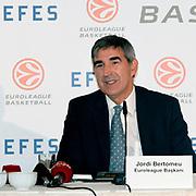 Jordi Bertomeu, CEO of Euroleague Basketball Efes Pilsen and Euroleague Basketball Press Conference at Ciragan Palace Kempinksi at Istanbul, Turkey 09 May 2012. Photo by TURKPIX