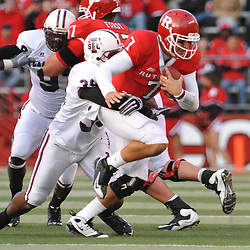 Oct 10, 2009; Piscataway, NJ, USA; Texas Southern defensive back Dedric Shipman tackles Rutgers quarterback Tom Savage (7) during second half NCAA college football action in Rutgers' 42-0 victory over Texas Southern at Rutgers Stadium.