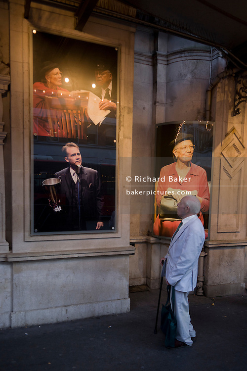 Elderly man outside London's Wyndham's Theatre where the play 'Driving Miss Daisy' with Vanessa Redgrave is playing. Driving Miss Daisy is a 1989 American comedy-drama film adapted from the Alfred Uhry play of the same title. Driving Miss Daisy is a 1989 American comedy-drama film adapted from the Alfred Uhry play of the same title. The story defines Daisy and her point of view through a network of relationships and emotions by focusing on her home life, synagogue, friends, family, fears, and concerns.