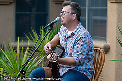 Aaron LaCombe sang and played his guitar at the gathering at the home of Kim and Jon Borneman after the Arlen Ness Memorial - Celebration of Life. Pleasanton, CA, USA. Saturday, April 27, 2019. Photography ©2019 Michael Lichter.