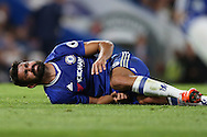 Diego Costa of Chelsea reacts in pain on the pitch after being challenged. Premier league match, Chelsea v West Ham United at Stamford Bridge in London on Monday 15th August 2016.<br /> pic by John Patrick Fletcher, Andrew Orchard sports photography.