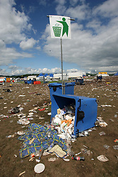 Clean-up pic on the Monday at the main stage area, T in the Park, Monday 9 July 2007..T in the Park festival took place on the 6th, 7th and 8 July 2007, at Balado, near Kinross in Perth and Kinross, Scotland. This was the first time the festival had been held over three days..Pic ©Michael Schofield. All Rights Reserved..